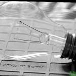 Glühlampe im Negativformat 9x12 cm mit der Globica II fotografiert.