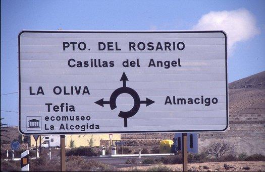 Straßenschild auf Fuerteventura